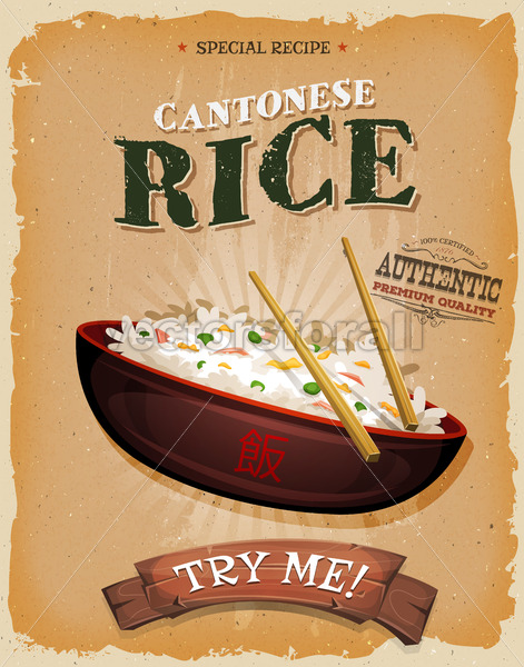 Fried Rice With Asian Chopsticks On Vintage Poster - Vectorsforall
