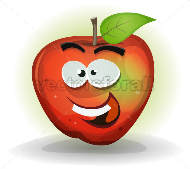 Funny Apple Fruit Character - Vectorsforall