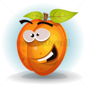 Funny Apricot Fruit Character - Vectorsforall