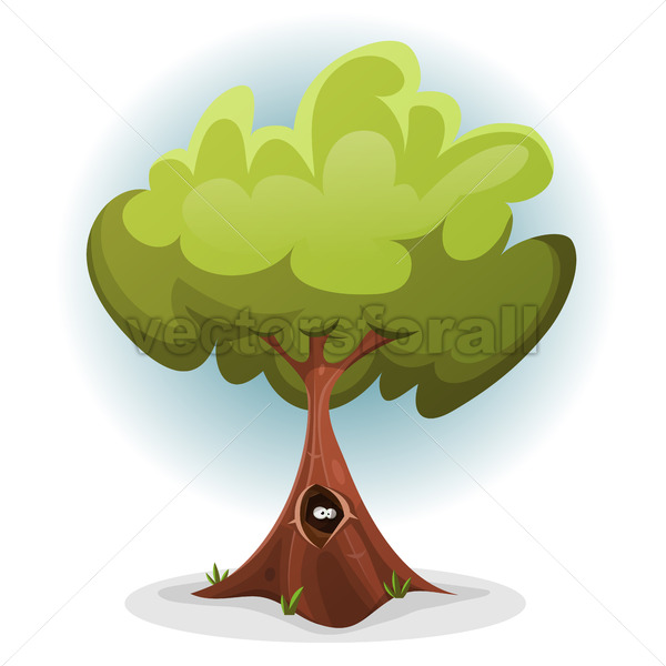 Funny Bird Or Squirrel Nest inside Tree Trunk - Vectorsforall