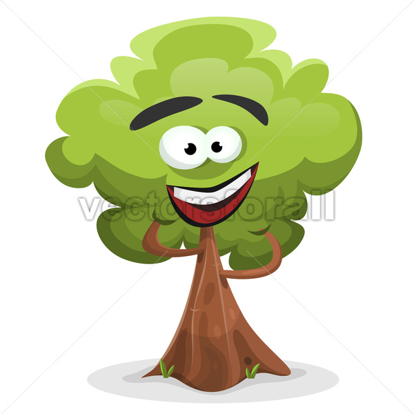 Funny Cartoon Tree Character - Vectorsforall