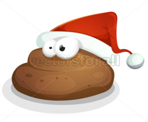 Funny Dung With Santa Hat - Vectorsforall