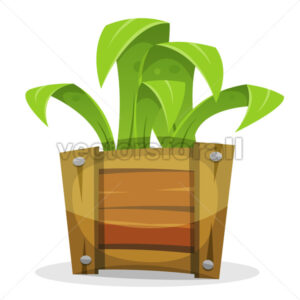 Funny Green Plant In Wood Bucket - Vectorsforall