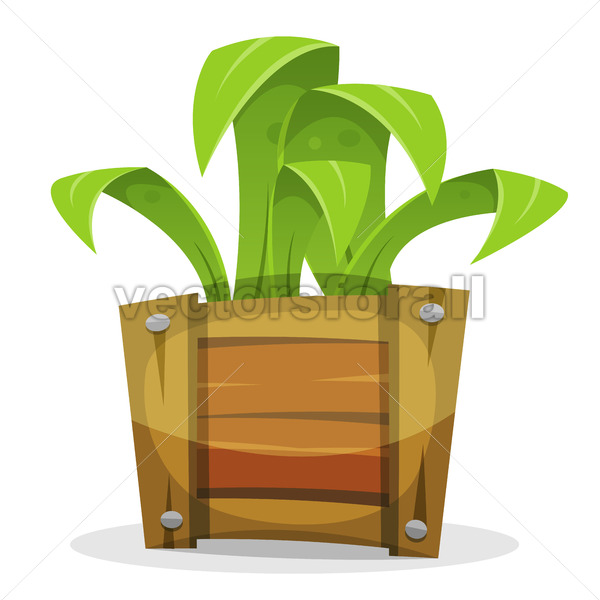 Funny Green Plant In Wood Bucket - Vectorsforall