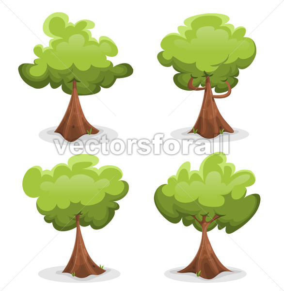 Funny Green Trees Set - Vectorsforall