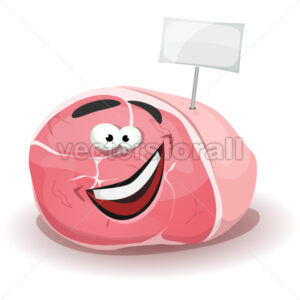 Funny Ham Character With White Label Stick - Vectorsforall