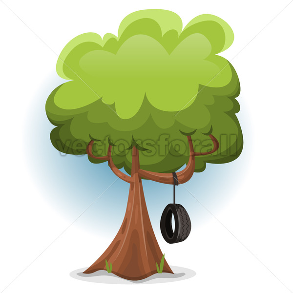 Funny Spring Tree With Swing Tire - Vectorsforall