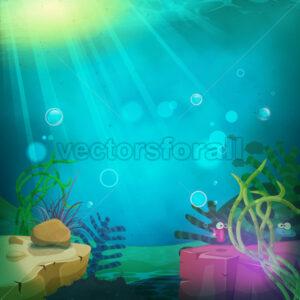 Funny Submarine Ocean Landscape - Vectorsforall