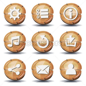 Funny Wood Icons And Buttons For Ui Game - Vectorsforall