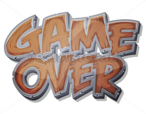 Game Over Wooden Icon For Ui Game - Vectorsforall