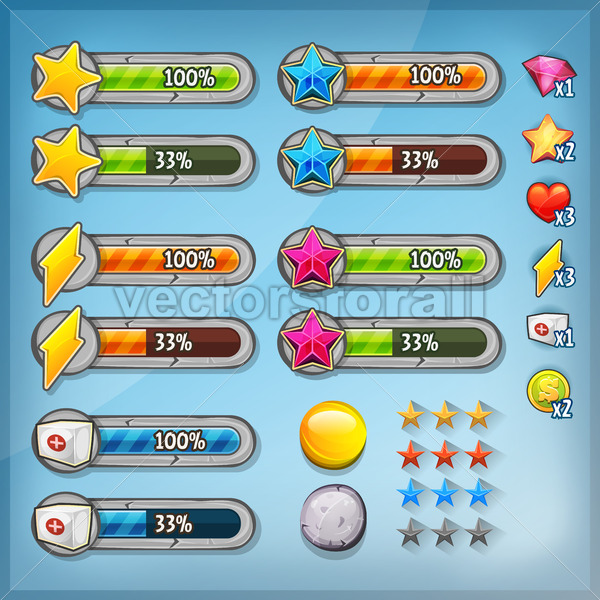 Game Ui Kit With Icons And Status Bars - Vectorsforall
