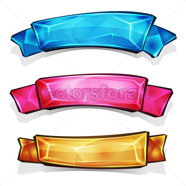 Gems And Diamonds Banners And Ribbons - Vectorsforall