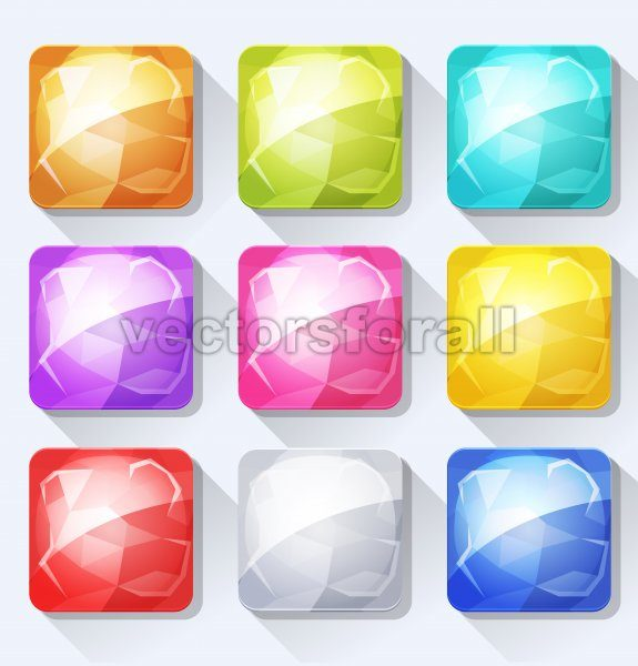 Gems And Jewel Icons And Buttons Set For Mobile App And Game Ui - Vectorsforall