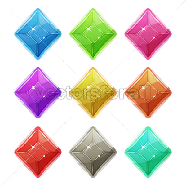 Gems, Crystal And Diamonds Icons For Game UI - Vectorsforall
