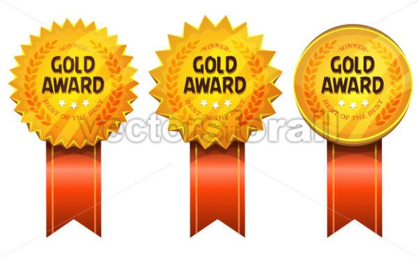 Gold Awards Medals And Ribbons - Vectorsforall