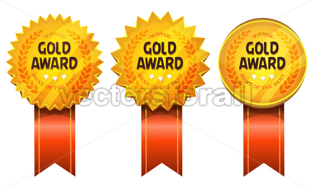 Gold Awards Medals And Ribbons - Vectorsforall