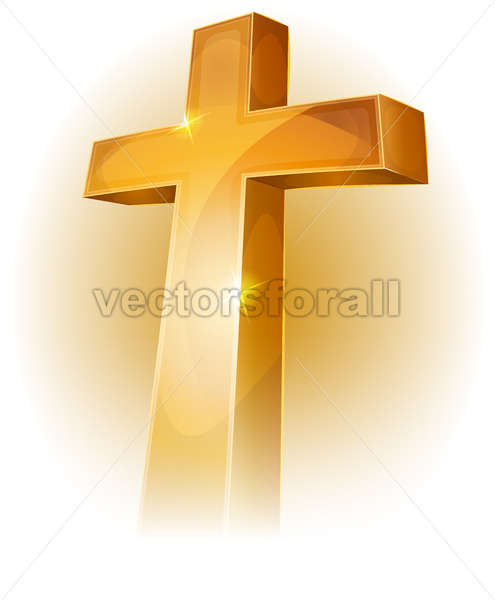 Gold Christian Cross - Vectorsforall