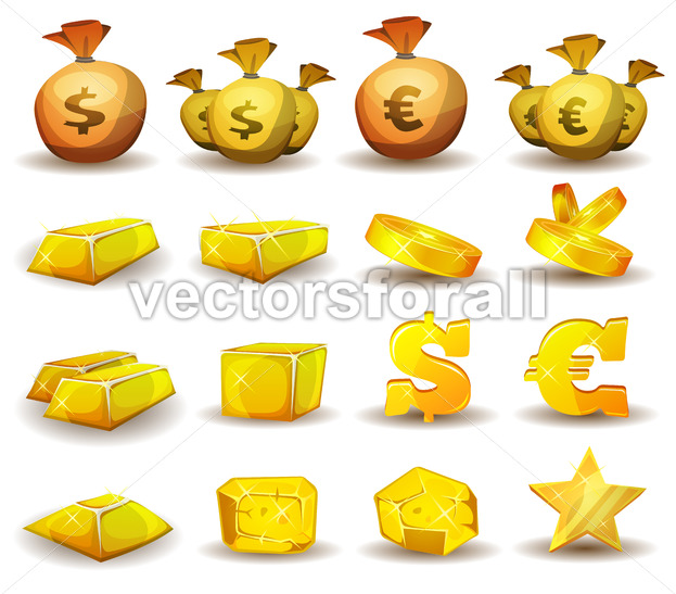 Gold Credit, Money, Coins Set For Game Interface - Vectorsforall