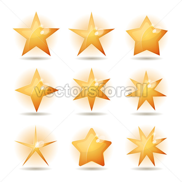 Gold Stars Icons Set - Vectorsforall