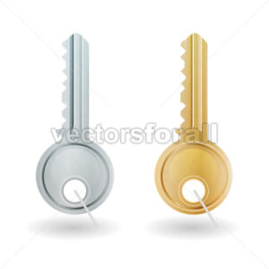 Golden And Silver Key Icon - Vectorsforall