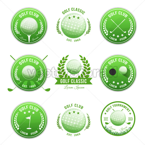 Golf Club Banners And Badges Set - Vectorsforall