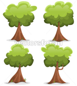 Green Funny Trees Set - Vectorsforall