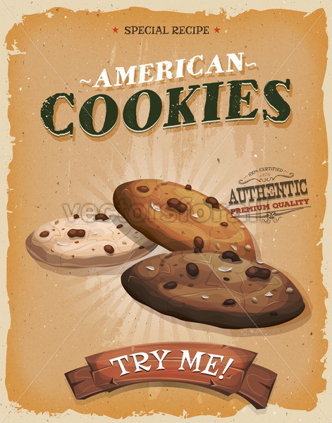 Grunge And Vintage American Cookies Poster - Vectorsforall