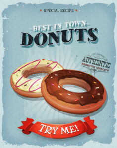 Grunge And Vintage American Donuts Poster - Vectorsforall