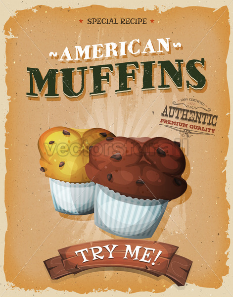 Grunge And Vintage American Muffins Poster - Vectorsforall