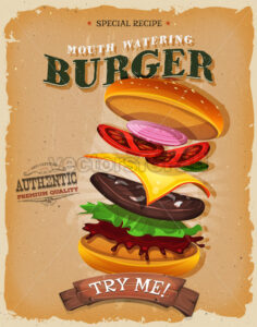 Grunge And Vintage Burger Ingredients Poster - Vectorsforall