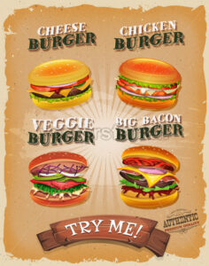 Grunge And Vintage Burger Menu - Vectorsforall
