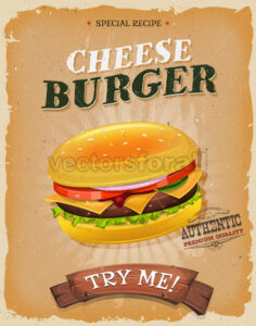 Grunge And Vintage Cheeseburger Poster - Vectorsforall