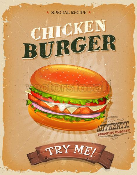 Grunge And Vintage Chicken Burger Poster - Vectorsforall