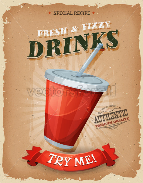 Grunge And Vintage Drinks And Beverage Poster - Vectorsforall