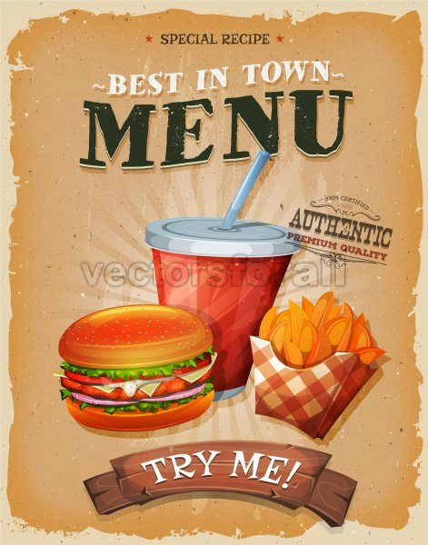 Grunge And Vintage Fast Food Menu Poster - Vectorsforall