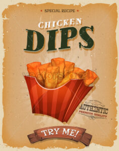 Grunge And Vintage Fish And Chips Poster - Vectorsforall