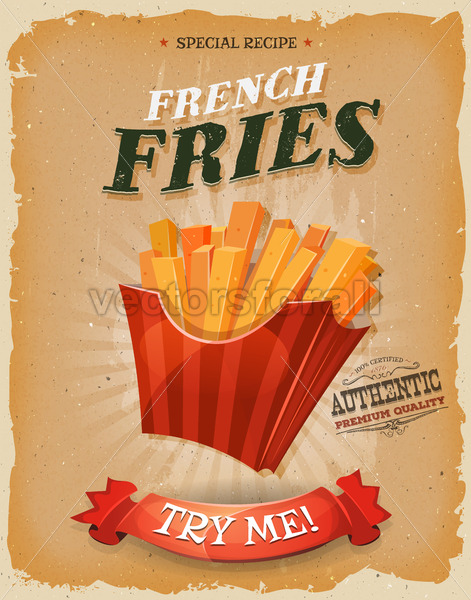 Grunge And Vintage French Fries Poster - Vectorsforall