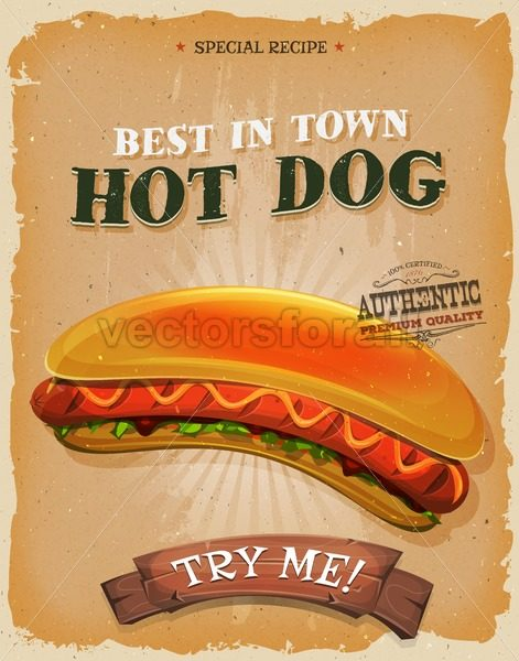 Grunge And Vintage Hot Dog Burger Poster - Vectorsforall