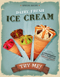 Grunge And Vintage Ice Cream Cones Poster - Vectorsforall