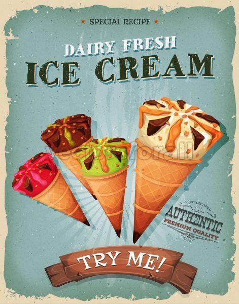 Grunge And Vintage Ice Cream Cones Poster - Vectorsforall
