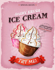Grunge And Vintage Ice Cream Dessert Poster - Vectorsforall