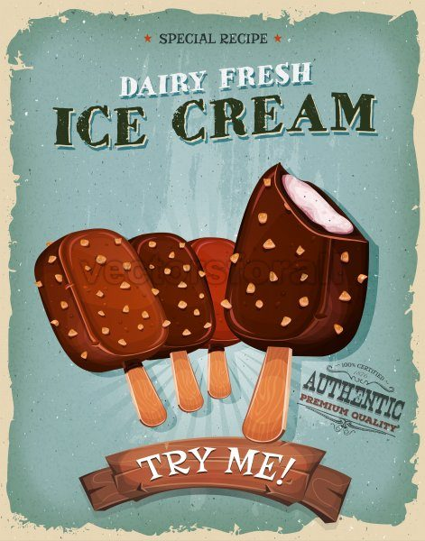 Grunge And Vintage Ice Cream On Wood Stick Poster - Vectorsforall