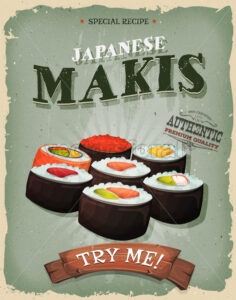 Grunge And Vintage Japanese Makis Poster - Vectorsforall