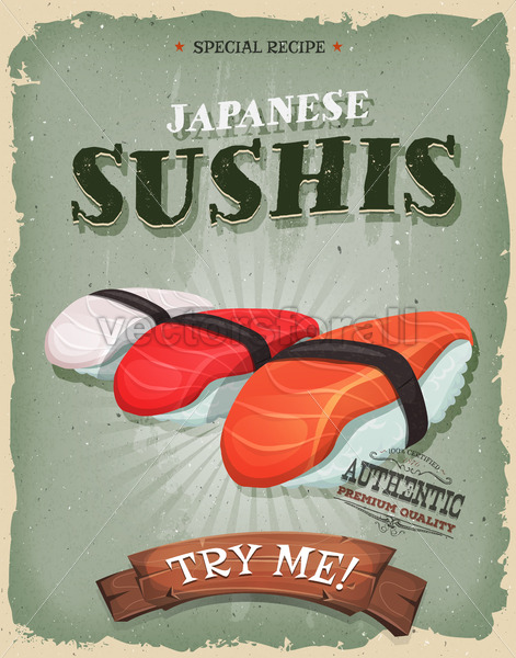 Grunge And Vintage Japanese Sushis Poster - Vectorsforall