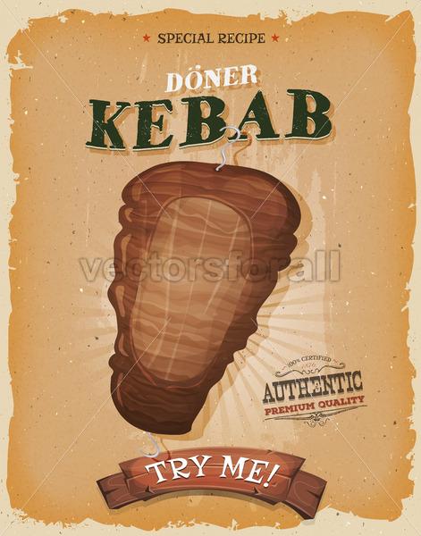Grunge And Vintage Kebab Sandwich Poster - Vectorsforall