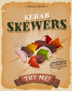 Grunge And Vintage Kebab Skewers Poster - Vectorsforall