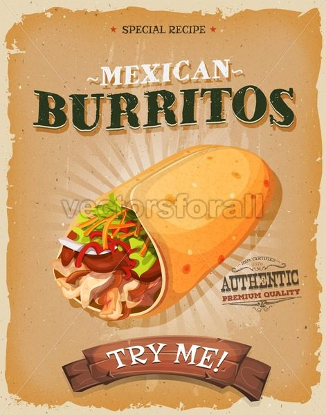 Grunge And Vintage Mexican Burritos Poster - Vectorsforall