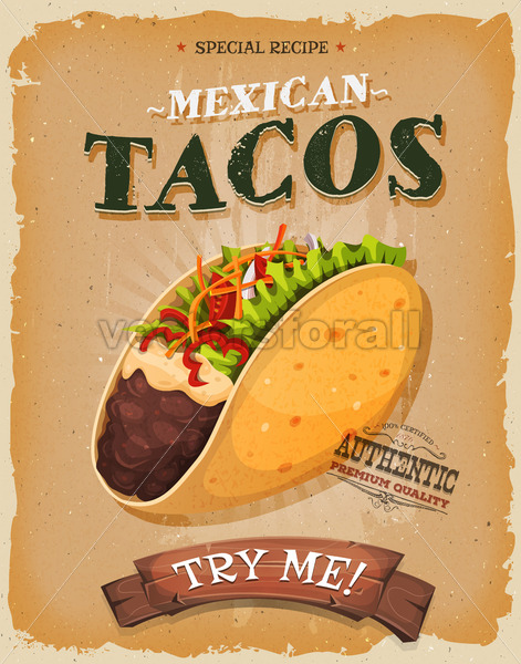 Grunge And Vintage Mexican Tacos Poster - Vectorsforall