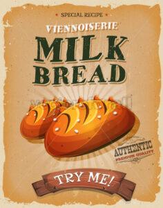Grunge And Vintage Milk Bread Poster - Vectorsforall