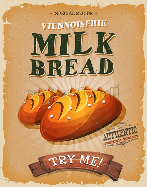 Grunge And Vintage Milk Bread Poster - Vectorsforall
